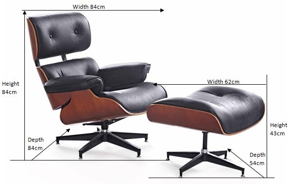 Eames Lounge Chair Replica Dimensions